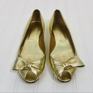 Valentino gold peep toe flats with bow. Size 38